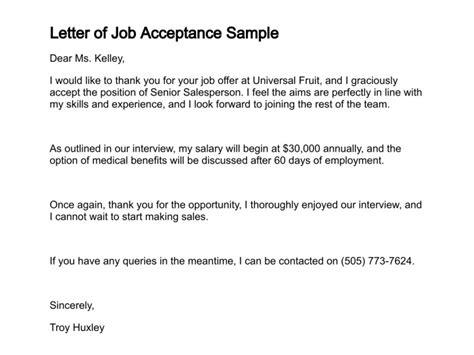 letter  job acceptance