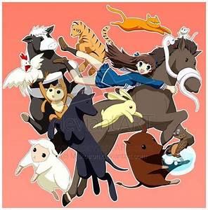 Fruits Basket- Tohru, Rin (horse), Ayame (snake), Kyo (cat ...