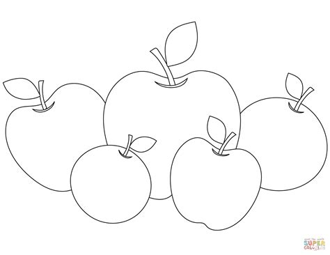 Five Apples Coloring Page Free Printable Coloring Pages