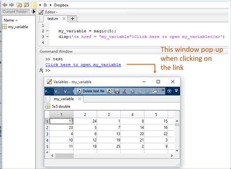 Matlab Display A Link To Workspace Elements