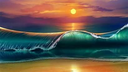 Beach Romantic Wave Sunset Giant Drawn Desktop