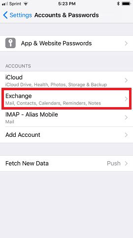 how to update email password on iphone how to update exchange account settings on an ios 11 device How T