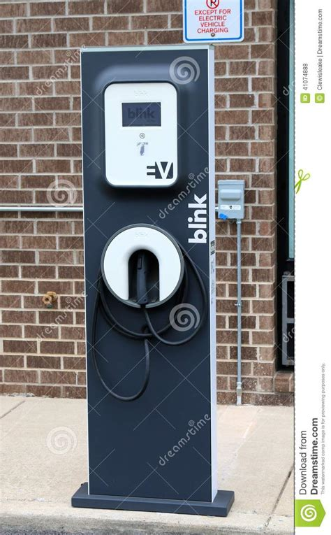 blink electric vehicle charging station editorial stock
