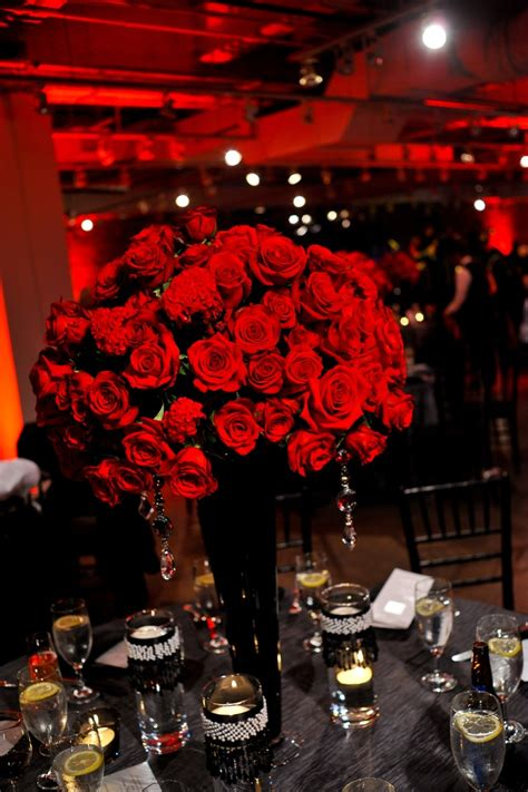 Tall Rose Centerpieces Daddys 75th Bday Planning