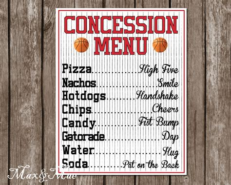 Sports Concession Menu Basketball Party Decor Basketball. Anti Bullying Poster Ideas. Graduation Wishes For Daughter. High School Graduation Poems. Free Sample Invoice Template. Easy Chronological Resume Sample. Raffle Ticket Template Word. Blank Flyer Template Free. Motivational Poster Generator