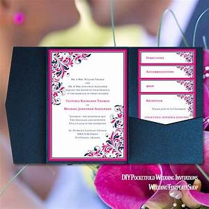 pocket fold wedding invitations kaitlyn hot pink navy blue With wedding invitations jacket pocket