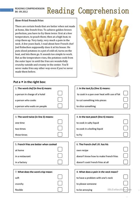 reading comprehension  worksheet  esl printable