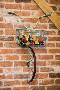 Original recycling ideas and exciting bike wall decorations for Kitchen colors with white cabinets with tandem bike wall art