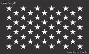 Joanie STENCIL (50) Stars WIDE Flag USA Patriotic American ...