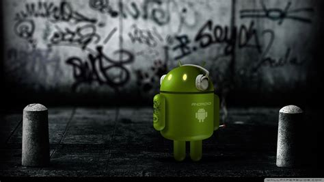 Download Android Robot Listening To Music Wallpaper