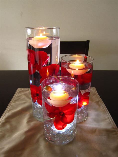 floating candle centerpiece kit  artificial red