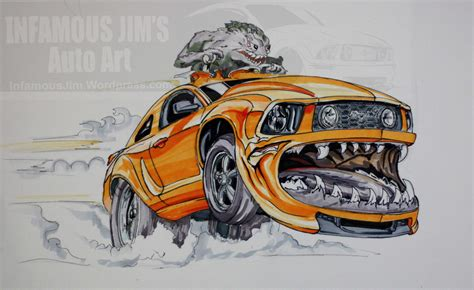 mustang infamous jims auto art sketches designs fine art