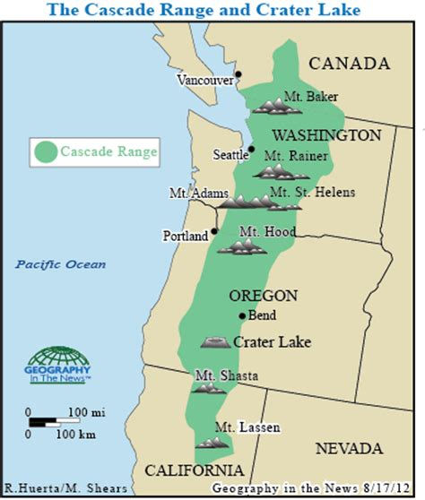 cascade mountain range map geography in the news amazing crater lake national