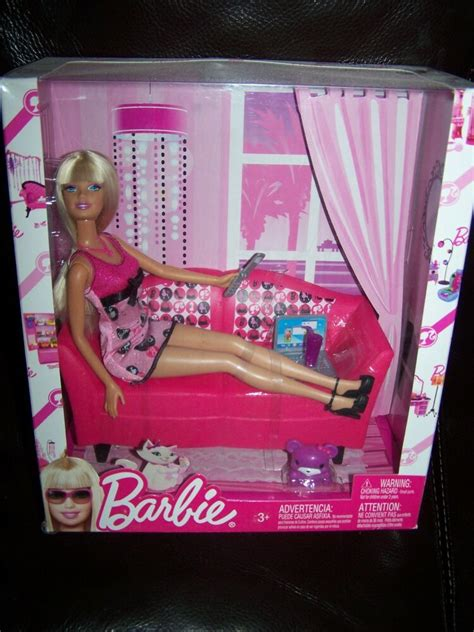 barbie doll pink glam sofa couch doll included