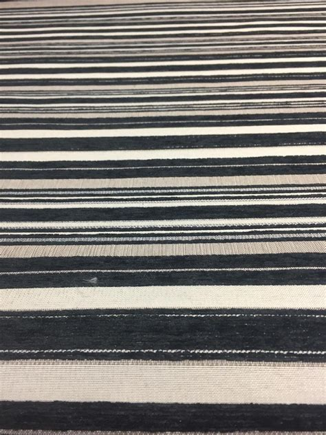 Affordable Upholstery Fabric by Black Silver Striped Fabric Chenille Upholstery Fabric By