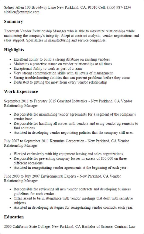 Relations Resume Template by Resume Templates Vendor Relationship Manager Resumes