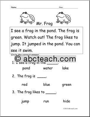 frog writing for kindergarten easy reading worksheets
