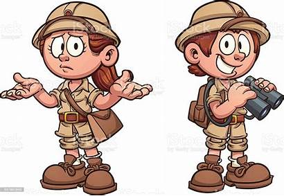 Safari Cartoon Explorer Clip Archaeologist Illustration Vector