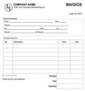 Plumbing Work Estimate by 14 Free Plumbing Invoice Templates Demplates