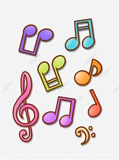 Cartoon Musical Notes Symbols Colorful Drawn Clipart