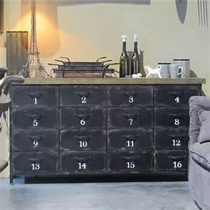 Buffet Metal Et Bois : buffet en m tal et bois 16 tiroirs m tier hanjel doors instead of drawers with panels for faux ~ Melissatoandfro.com Idées de Décoration