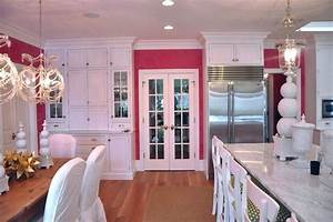 pink kitchen transitional kitchen megan winters With what kind of paint to use on kitchen cabinets for pink marble wall art