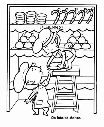 Coloring Pages Christmas Santa Kitchen Elves Helpers