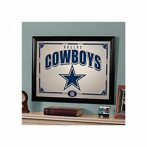 Dallas cowboys black framed mirror home decor home for Kitchen cabinets lowes with dallas cowboys wall art