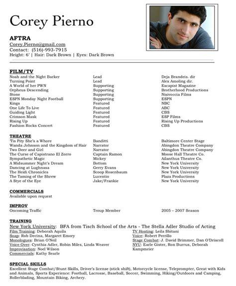 acting resume template ideas  pinterest
