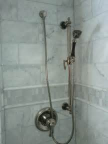 fabulous white and grey subway pattern marble shower added stainless steel single handle shower
