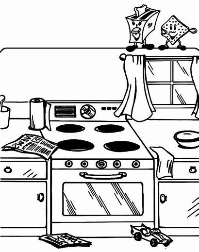 Coloring Pages Kitchen Messy Dirty