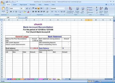 sample bank reconciliation statement format microsoft