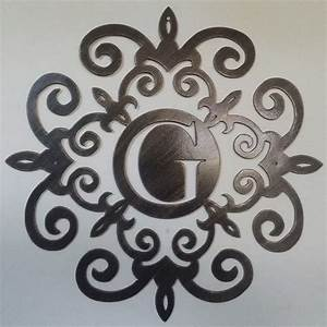 family initial monogram inside a metal scroll with g With initial letters for wall