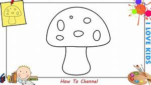 How to draw a mushroom EASY step by step for kids ...