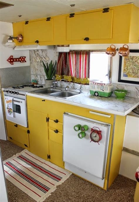 travel trailer kitchen accessories 4 vintage trailer makeovers that ll make you want to gl 6351
