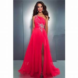 y A Line e Shoulder Long Neon Red Chiffon Beaded Prom