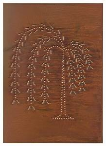 four handcrafted punched tin cabinet panel primitive With kitchen cabinets lowes with metal willow tree wall art