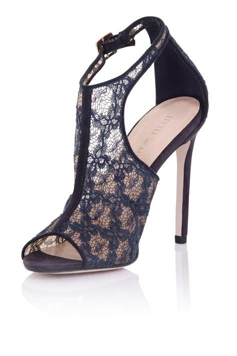 mistress footwear gaia navy lace cut  shoe boot