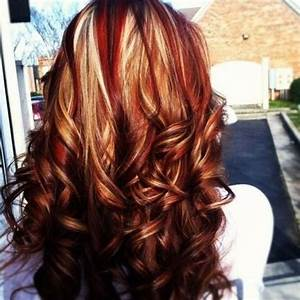 Caramel And Red Highlights In Dark Brown Hair - HAIRSTYLE ...