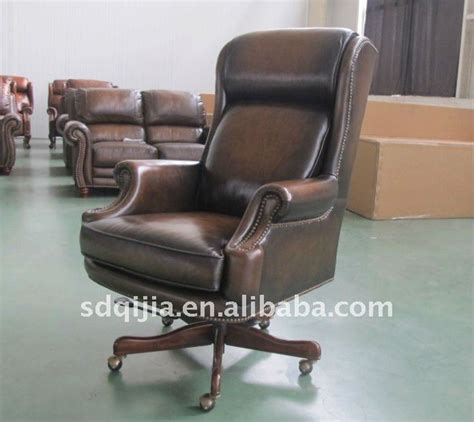 american style antique genuine leather office swivel chair jpg
