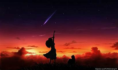 Silhouette Anime Wallpapers Sunset Star Background Sky