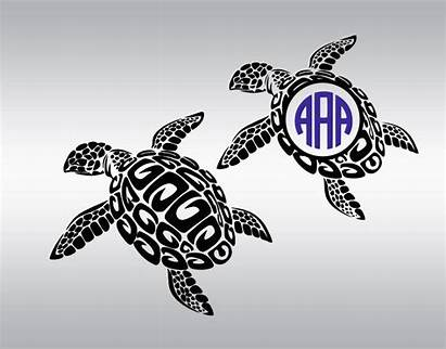 Turtle Svg Monogram Cricut Tribal Silhouette Cut