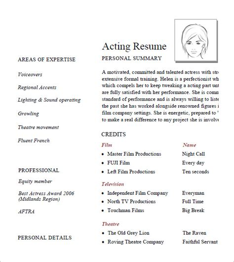 Acting Resume Format by Free 5 Acting Resume In Sles Exles Templates