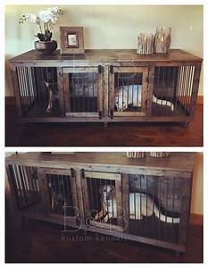 the double doggie dentm indoor rustic dog kennel for two With custom dog kennel furniture