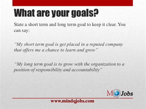 What Are Your Term Career Goals by Mindqjobs Fresher Hr Questions