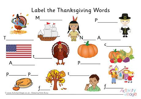 label the thanksgiving words