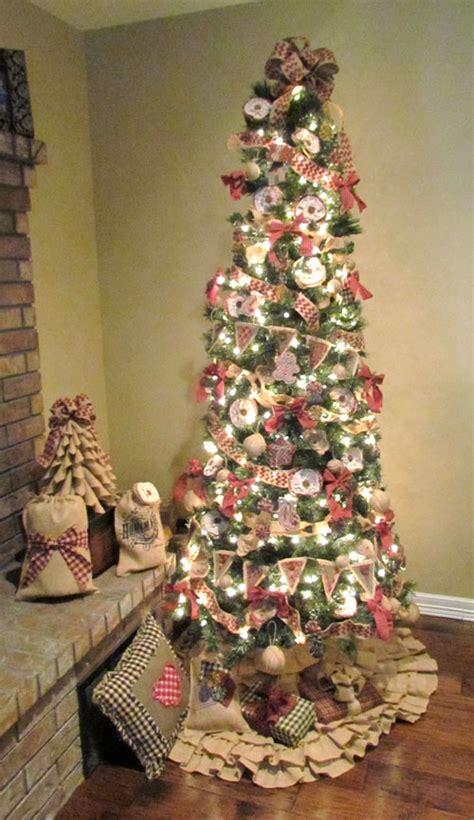 burlap homespun christmas tree decorations 171 rags n