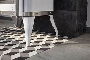 Dalle Pvc Carreau Ciment : carreau de ciment sol et mur blanc et noir 3d carrelage ~ Dailycaller-alerts.com Idées de Décoration