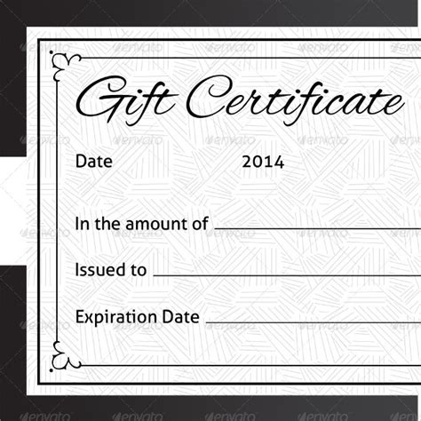 sample blank gift certificate templates  psd