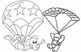 Parachute Coloring Cartoon Animal Pages Favourite Children Fun sketch template